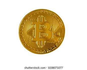The golden bitcoin object model on white background.
