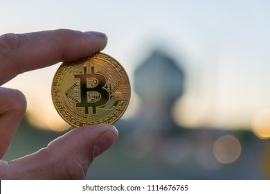 golden bitcoin on