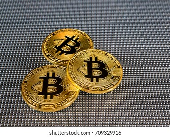 Golden bitcoin on abstract background. Bitcoin cryptocurrency