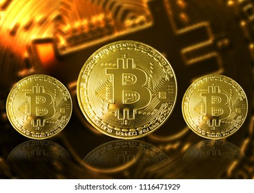 golden bitcoin  on background