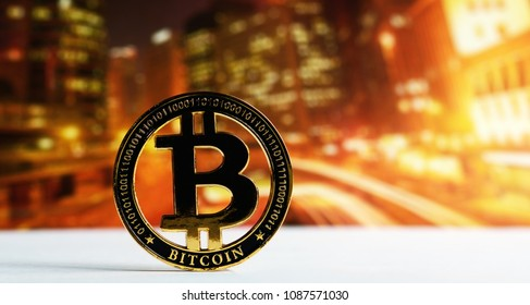 golden bitcoin on colorful background