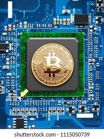 Golden Bitcoin on a computer processor