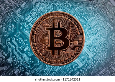 Golden Bitcoin on the electronic circuit unlimited of business success concept