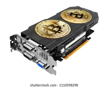 Golden Bitcoin on a graphics card isolated on white background