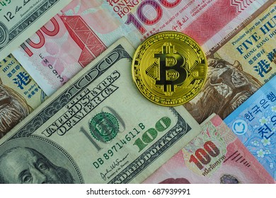 Golden bitcoin on international banknote, bitcoin electronic money concept, new kind of currency