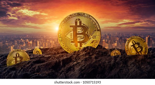 Golden Bitcoin On the Moutain. Business concept.