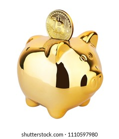 Golden Bitcoin on a piggy moneybox isolated on white background