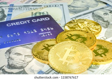 The golden bitcoin on top of dollar banknote background, golden bitcoin symbol of bitcoin crytocurrency from blockchain technology, finance concept