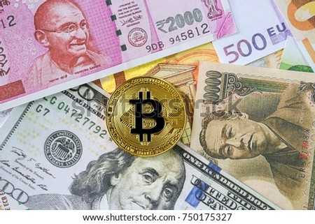 Golden Bitcoin on Us dollar, Yen Japan, Rupee india and euro Banknote background