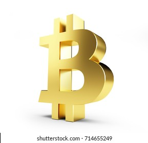 golden bitcoin  on a white background 3D illustration, 3D rendering