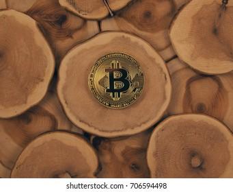 golden bitcoin on wooden pedestal