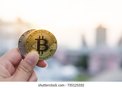 Golden bitcoin with reflex on background. Bit coin cryptocurrency banking money transfer business technology
