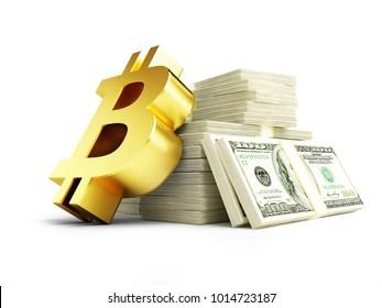 golden bitcoin sign on a pile of cash dollars 3D illustration, 3D rendering