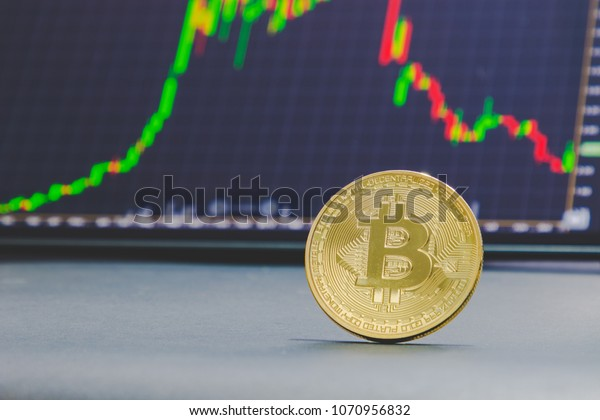 Golden bitcoin and stock chart background.