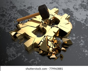 Golden bitcoin symbol cryptocurrency broken with a hammer into many pieces. The idea of a cryptocurrency crisis of the financial system collapse, inflation bitcoin. 3D rendering.
