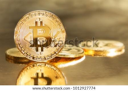 Golden Bitcoin Symbolising Value Cryptocurrencies Stock