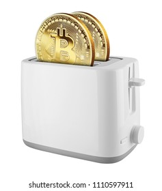 Golden Bitcoin in a toaster isolated on white background