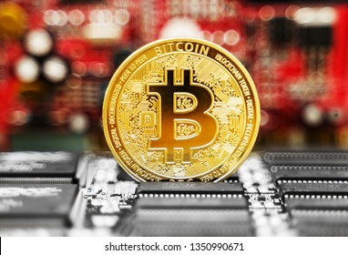 Golden bitcoin and video card. Cryptocurrency mining concept.