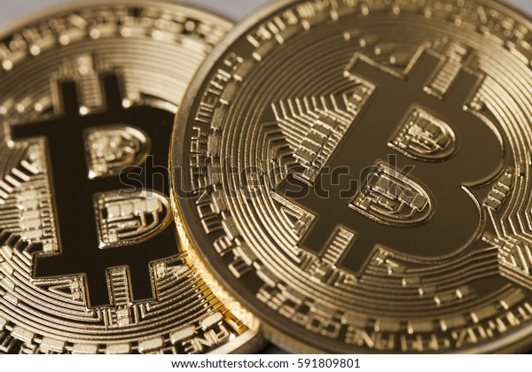 Golden Bitcoin virtual currency coin