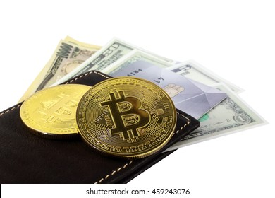 Golden bitcoin with wallet and cash isolated on white background. conceptual image for crypto currency.