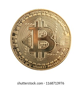 golden bitcoin in a woman hand, symbol of a crypto-currency