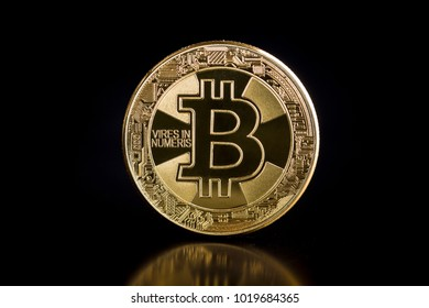 Golden bitcoins. Coin of cryptocurrency. Bitcoin 2018.