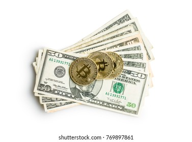 Golden bitcoins. Cryptocurrency and dollars isolated on white background.