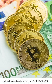 The Golden bitcoins. Cryptocurrency and euro currency.