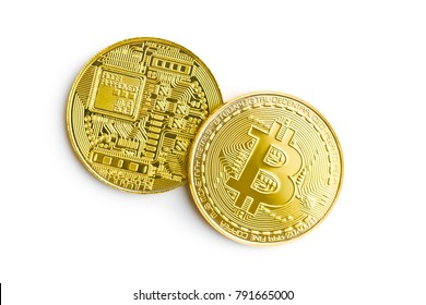 Golden bitcoins. Cryptocurrency isolated on white background. Crypto money.