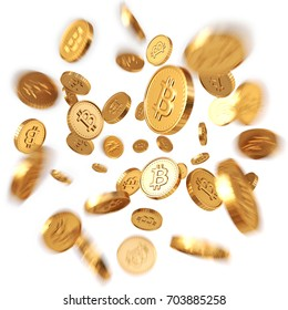 Golden Bitcoins explosion. Isolated on white background. 3d rendering.