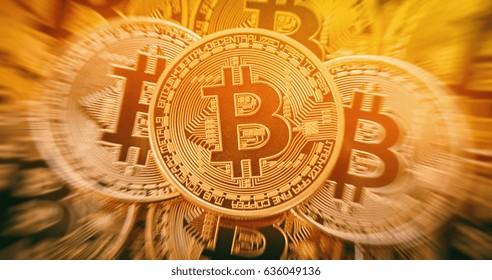 Golden bitcoins heap. conceptual image for crypto currency.