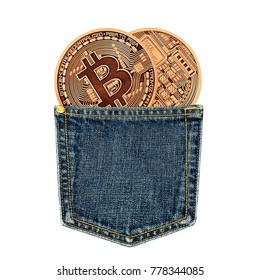 Golden Bitcoins in a jeans pocket isolated on white. Photo (new virtual money ) New crypto currency in the form of the coins.