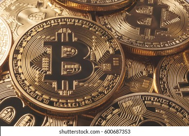 Golden Bitcoins. New virtual money.