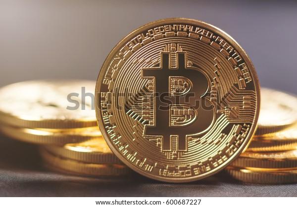 Golden Bitcoins. New virtual money.