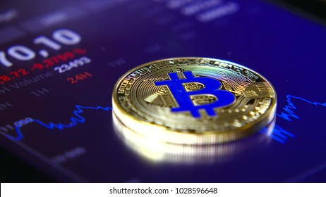 Golden bitcoins on the background of a graphic stock chart. The Concentration of the Crypto-Currency of Virtual Money