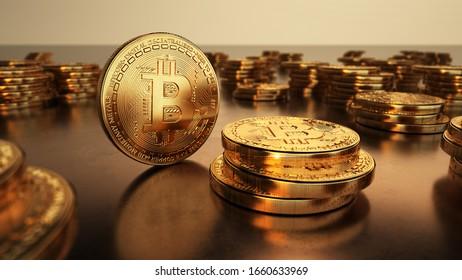 Golden bitcoins stacks on metal background