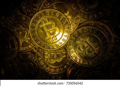 golden Bitcoins  virtual currency coin image idea for such as background