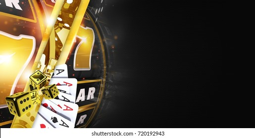 Golden Black Casino Banner with Elements of Slot Machine, Dices and Poker Cards. 3D Rendered Illustration. Right Side Copy Space.