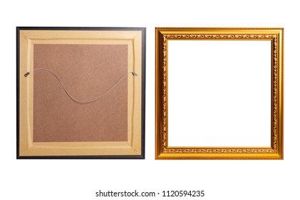 Golden blank photo frame isolated on white background, include clipping path