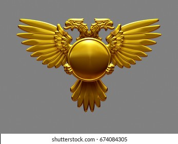 golden blazon with double eagle, 3d Illustration