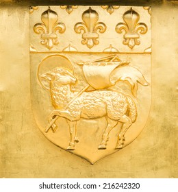 Golden Blazon of Rouen, coat of arms, with pascal lamb and  flowers of lily, France