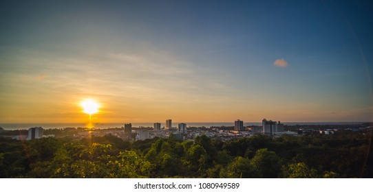 Golden & blue sunset with view of Miri City from Canada Hill in Miri, Sarawak