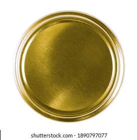 Golden bottle lid isolated on white background, top view - Shutterstock ID 1890797077