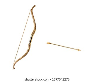 golden bow with arrow, isolated on white background