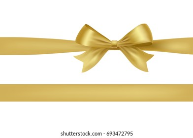 golden bow knot isolated on white. raster design element for your invitation and celebration greeting cards