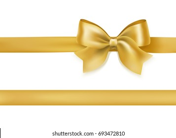 golden bow knot and ribbon on white. decorative design element for celebration greeting and invitation cards. raster