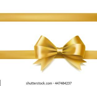 golden bow ribbon on white. decorative design element. raster