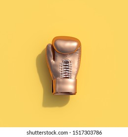 Golden Boxing glove on yellow color background. minimal sport idea. 3D Render.