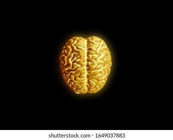 Golden brain on black background