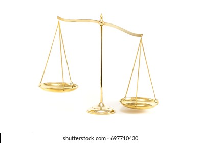 Golden brass balance or imbalance scale isolated on white background. Weight balance, Symbol of law justice, libra, decision.